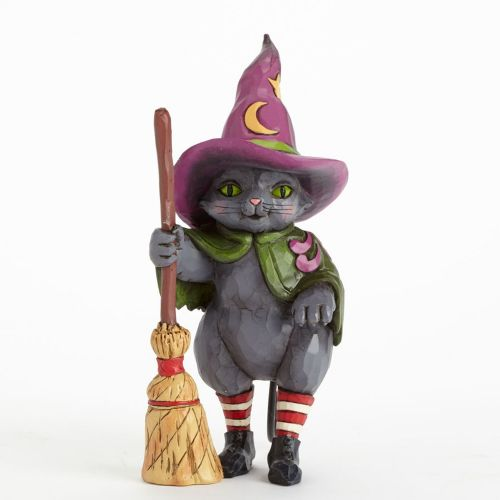 Jim Shore Hocus Pocus Witch Cat with Broom